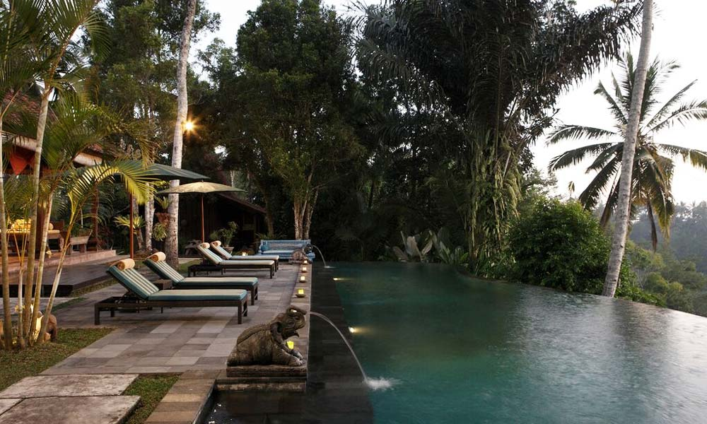 Angle view of the pool at Villa Bodhi