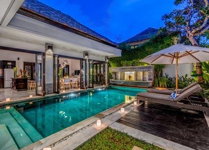 Stunning view of the pool at Villa Jepun